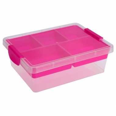 Opbergbox/sorteerdoos 5-vaks tray roze 33 cm