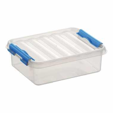 Opbergboxen/opbergdozen 1 liter kunststof transparant/blauw
