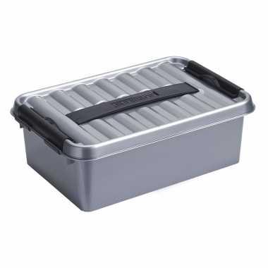 Opbergboxen/opbergdozen 12 liter kunststof metallic/zwart