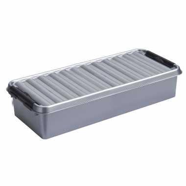 Opbergboxen/opbergdozen 6,5 liter kunststof metallic/zwart