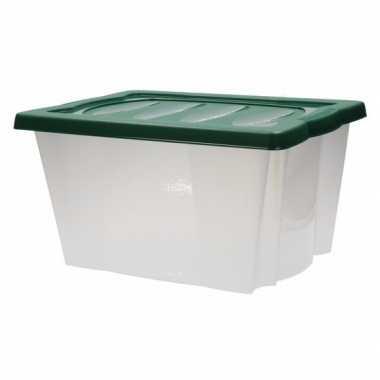 Plastic opbergbox met groene deksel