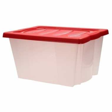 Plastic opbergbox met rode deksel