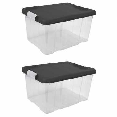 Set van 4x stuks opberg boxen/opbergdozen 16 liter 39 x 29 x 21 cm kunststof
