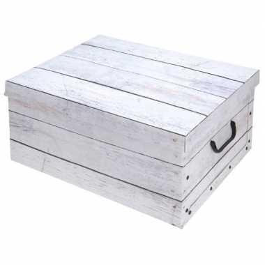 Witte opbergdoos/opbergbox hout print 51 cm
