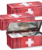 3x metalen ehbo opbergdozen blikken verbandtrommels rood 26 x 14 cm bedrijf kantoorbenodigdheden