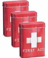 3x metalen pleister opbergdoosjes blikjes rood 7 x 9 5 cm bedrijf kantoorbenodigdheden