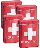 4x metalen pleister opbergdoosjes blikjes rood 7 x 9 5 cm bedrijf kantoorbenodigdheden