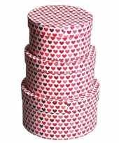 Rond kado doosje hartjes rood 18 cm